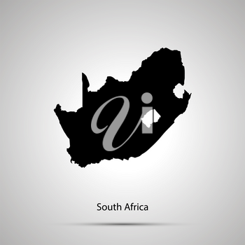 South Africa country map, simple black silhouette