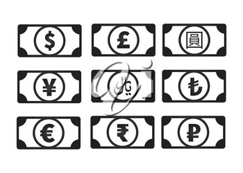 Abstract money banknotes with common currency signs like us dollar, pound, yen, yuan, ruble, euro, rupee, rial, lira isolated on white