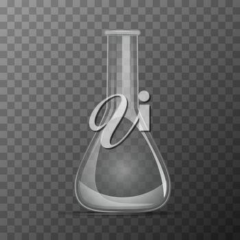 Simple transparent flask for chemicals experiments on transparent background