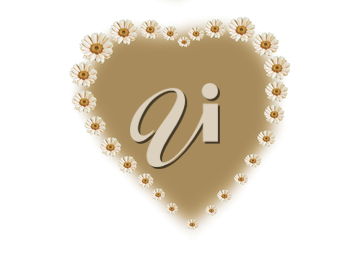 the inscription of the heart shape with daisy flowers