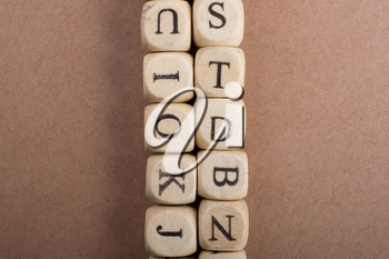 Letter cubes of Alphabet made of wood