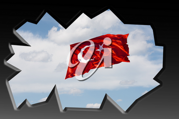Turkish national flag with white star and moon in cloudy sky