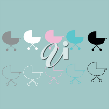 Baby carriage differet colour icon set.