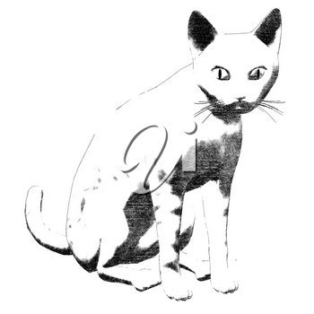 Abstract sketch of a cat. Digitally created illustration.