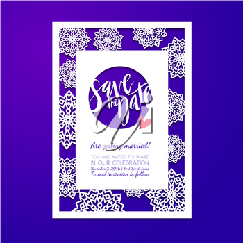 Save the date card. Laser cutting pattern. Wedding invitation, bridal shower, baby shower, birthday party in winter with snowflakes.