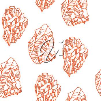 Seamless  vector color pattern with crystals doodle