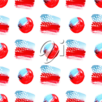 Independence day 4 th july seamless pattern. Watercolor abstract American flag. The symbol of freedom United States of America. Texture for scrapbooking, wrapping paper, textiles, web page, fashion