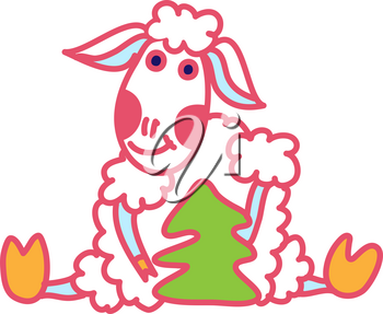 Card with Christmas and New Year for the year sheep doodle style