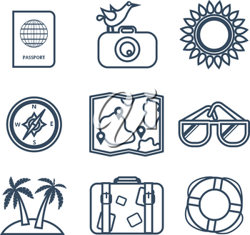 Icons on the theme of travel, summer in the flat line style