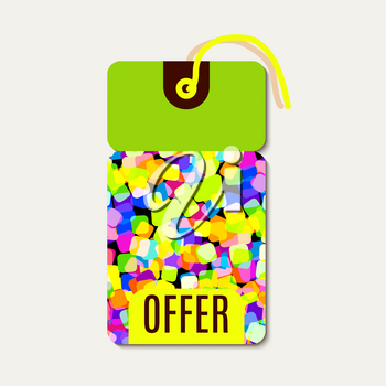 Bright tags with rainbow glitter. Suitable for sales, offers for discounts, shops, packaging