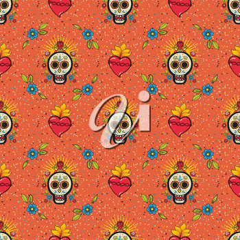 Mexican seamless pattern. Bright Ornament with sugar skulls. For the Day of the Dead and holiday 5 may Cinco de Mayo. National patterns are suitable for textiles, postcards, pillows