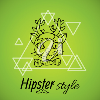 cat with horns painted line on a background of triangles labeled hipster style