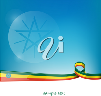 ethiopia ribbon flag on blue sky background