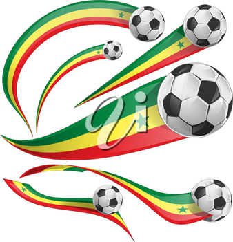 senegal flag set with soccer ball isolated on white background