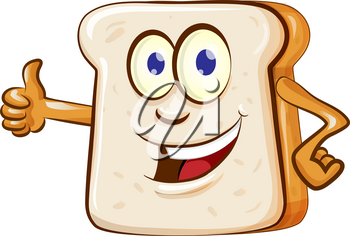 slice bread mascot cartoon isolated on white background