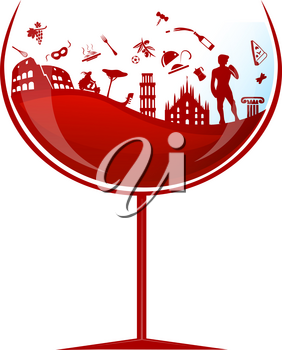 glass of italian red wine with symbol element