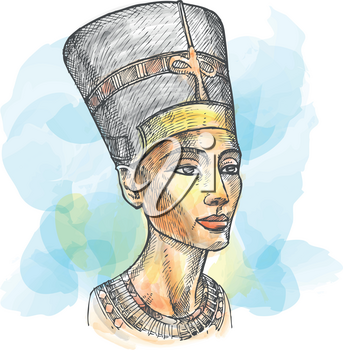Bust of Nefertiti hand drawn watercolor