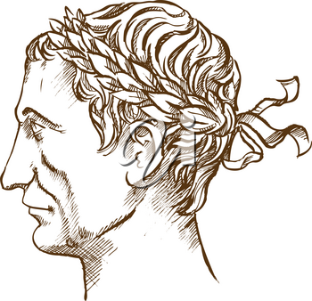 Julius Caesar,  Roman politician and general vintage line drawing