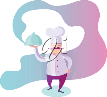 flat Illustration of a Funny Italian Chef Presenting His Specialty of The House