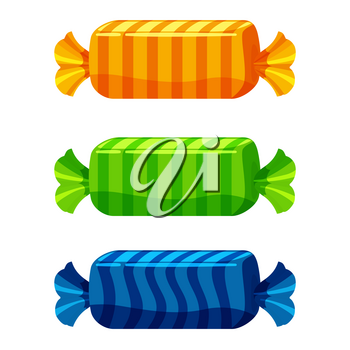 Set of sweets on white background candy. Vector illustration.