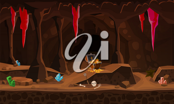 Treasure cave with chest gold coins, gems, crystals. Concept, art for computer game