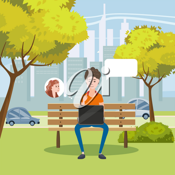 Illustration of a Teen Girl Using Her Laptop in a Bench in the Park