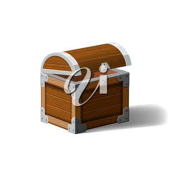 Open pirate chest. wooden box. Symbol of wealth riches. Cartoon flat vector design for gaming interface
