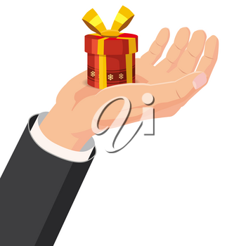 The hand that holds the box, gift. Cartoon style. The concept of delivery, victory, Christmas holiday, birthday, engagement, wedding