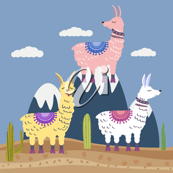 Set of Cute vector alpaca and cactus elements. Editable vector illustration