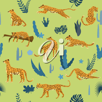Seamless pattern with leopards in different poses with tropical leaves, plants, mammal, predator, jungle