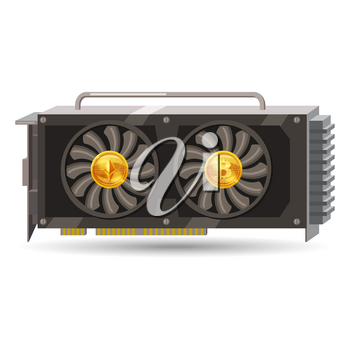 GPU videocard for mining isolated icon. Blockchain technology and digital money, cryptocurrency system