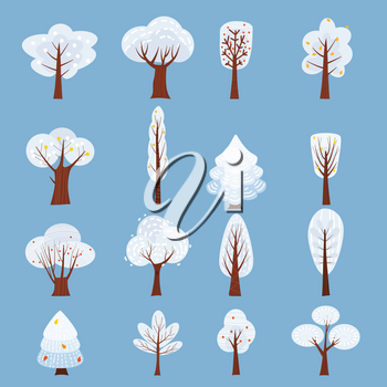 Set of Isolated Winter tree decorate stylized, snow, naked