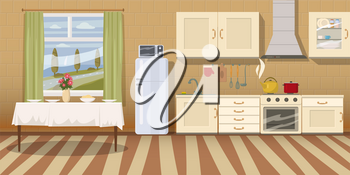 Kitchen with furniture. Cozy kitchen interior with table, stove, cupboard, dishes and fridge. Cartoon style vector illustration.