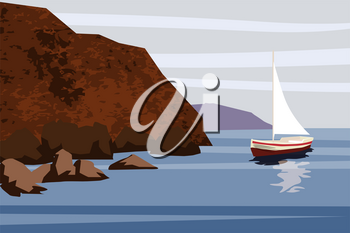 Seascape with rocks and clouds. Vector cartoon illustration