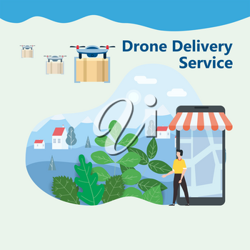 The concept of delivery of the drone flies with the mai