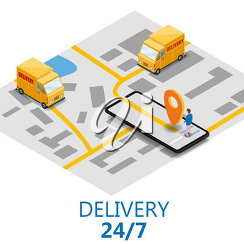Isometry express cargo delivery route navigation map of the city, smartphone, van delivery