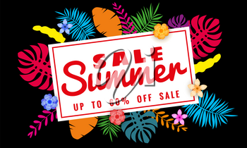 Summer sale banner template for seasonal sales with tropical leaves flowers background