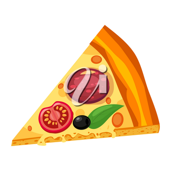 Slice of Italian pepperoni pizza on white background, top view