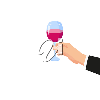 Hand holding a glass of red wine. Template vector illustration