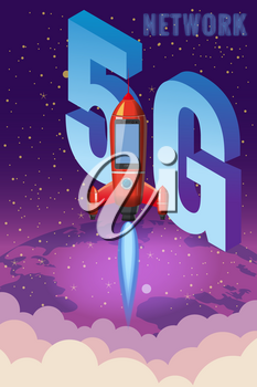 Smartphone rocket is flying in the sky start up. 5G internet new mobile wireless technology wifi connection