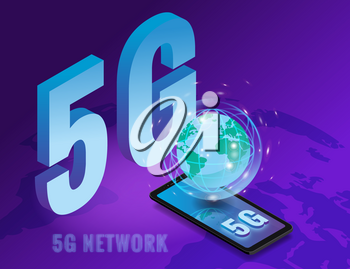 Isometric 5G network wireless technology template. Letters 5G smartphone with Earth planet