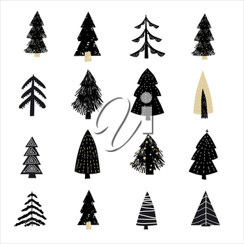 Set Christmas forest tree fir-tree icon. Simple doodles black white illustration in scandinavian style