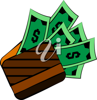 A brown leather wallet with full load of green dollar bills vector color drawing or illustration