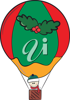 Snowman wearing scarf & hat is travelling on a red & green color air balloon decorated with wreath vector color drawing or illustration