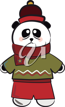 A panda is ready for Christmas celebration with its green sweater & red pants vector color drawing or illustration