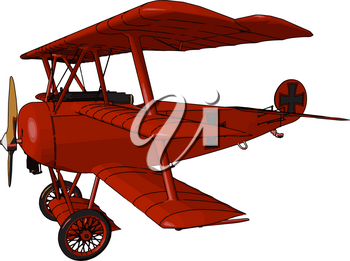 Biplane Airplane with two wings predominated in military and commercial aviation during world war 1 and early 1930s it opened the era of powered flight vector color drawing or illustration