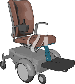 A motorized wheel chair mainly useful for disabled person to get around easily It is propelled by means of an electric motor rather than manual power vector color drawing or illustration