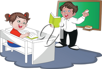 Vector illustration of teacher teaching student in classroom.