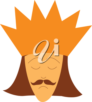 A young king with great mustache is wearing a golden crown vector color drawing or illustration