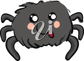 Cute smiling grey spider with red tounge out vector illustration on white background